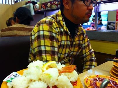 ★ナベさんは寿司のシャリ半分は多過ぎると言い食べません